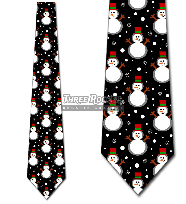 Building Snowmen Men/'s Necktie Christmas Snowman Snow Holiday Black Neck Tie