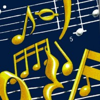 Musical Notes and Staff - Gold on Navy Necktie