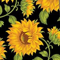 Vintage Sunflower Pattern - Black Necktie